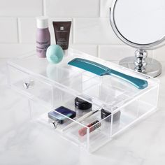 Store all your cosmetics in a handy InterDesign Clarity 2-Drawer Organizer. Multiple storage drawers make it easy to organize all your cosmetics.