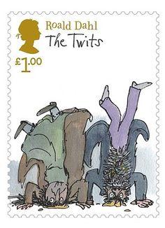 Roald Dahl: The Twits stamp. Probably the best Dahl ever wrote. Roald Dahl The Twits, Roald Dahl Stories, Royal Mail Stamps, Uk Stamps, Charley Harper, Arthur Rackham, Quentin Blake Illustrations, Book Illustrations, Poster Art