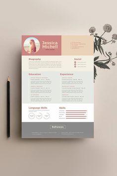 Present … – Branding Design - CV Examples Graphic Design Resume, Resume Design Template, Resume Templates, Unique Resume, Creative Resume, Creative Cv Design, Portfolio Resume, Portfolio Design, Cv Photoshop