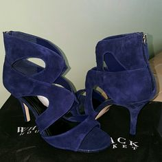 "Suede Caged Heels Brand new, never worn. Genuine leather suede heels with back zipper. 3.5"" heel. White House Black Market Shoes Heels"