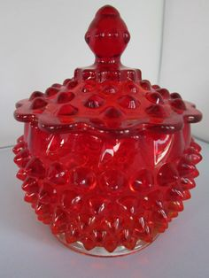 Fenton Ruby Hobnail Covered Candy Jar - We had one of these! Fenton Glassware, Vintage Glassware, Candy Jars, Candy Dishes, Vases, Cranberry Glass, Simply Red, Vintage Dishes, Carnival Glass