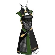 Lady Loki design. Abby ❤ liked on Polyvore featuring dresses, loki, avengers and marvel