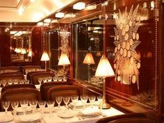 Orient Express dining car. Black tie every night. I don't know how anyone gets all their gowns there.