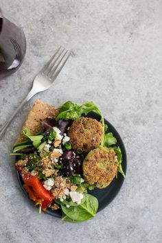 A falafel recipe that gets a slight update with the help of quinoa. Perfect for salads or stuffing in pita.