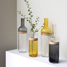 Design à la française: Möbel und Wohnaccessoires von comingB - Flaschenvasen ♡ Wohnklamotte - Glass Bottle Crafts, Diy Bottle, Bottle Vase, Glass Bottles, Vase Design, Pottery Vase, Recycled Glass, Recycled Bottles, Vases Decor