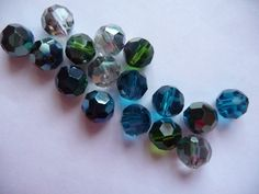 Bead Mix, Celestial Crystal, Glass, Ocean, Iridescent Shades, 8mm, Faceted, Round, Pkg Of 12 by darsjewelrysupplies. Explore more products on http://darsjewelrysupplies.etsy.com