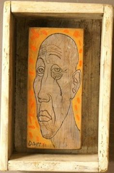 Guru - Portraits Of The Blues Depicted On  #Reclaimed Wood #Original #Painting by Dragan Milev - Darry http://theblueswoods.com/guru  #Blues #Music #Painting #Portrait #OffWhite #Orange #Ochre  #Brown