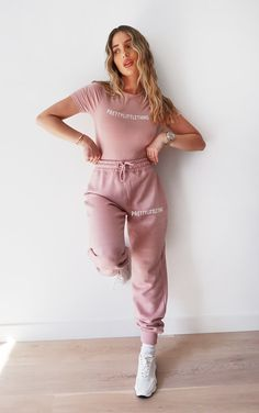 Plt Pale Pink High Waisted Joggers | Co-Ords | PrettyLittleThing Two Piece Outfit, Two Piece Dress, Sweats Outfit, Babe, Cute Pants, Women's Pants, Tracksuit Set, Pink Zip Ups, Tops For Leggings