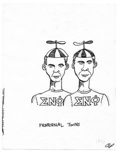 Fraternal Twins --Original Cartoon Drawing ca. 1991 on Etsy, $30.00