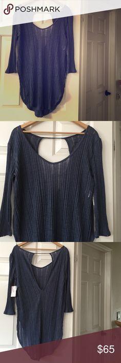 NWT Free People Blue Oversized Shirt Medium M Brand New Free People Tops Tunics
