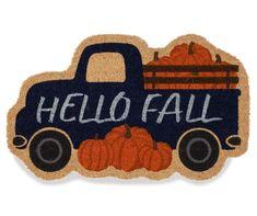 """Hello Fall"" Truck Shaped Coir Doormat, (18"" x 30"") | Big Lots Blue Velvet Fabric, Vintage Pickup Trucks, Coir Doormat, Tablecloth Fabric, Lumbar Throw Pillow, Fabric Pumpkins, Clean Shoes, Hello Autumn, Autumn Inspiration"