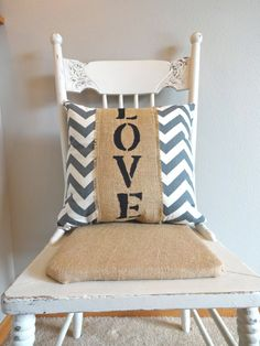 Grey and White Chevron Love Pillow by katieruebel on Etsy, $30.00