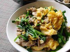 ご飯ガッツリ!ニラ卵&豚コマ肉の画像