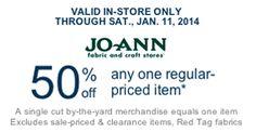 JoAnn Fabric Coupon: 50% Off Any Regular Priced Item