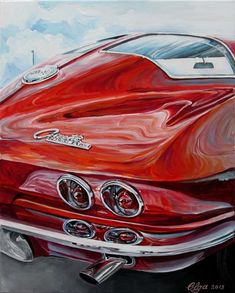 """"""" Fireworks"""" Corvette 1963 by Olga Pankova on ARTwanted Sexy Cars, Hot Cars, Classic Sports Cars, Classic Cars, Vintage Cars, Antique Cars, Cool Car Drawings, Best Car Insurance, Chevy Muscle Cars"""