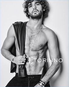Marlon Teixeira goes shirtless for Torinno's campaign.