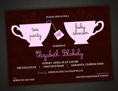 Tea party baby shower invitation personalized by idesignthat. Tea Party Baby Shower, Baby Shower Invites For Girl, Baby Shower Cards, Baby Shower Themes, Baby Shower Decorations, Baby Shower Invitations, Shower Ideas, Girl Shower, Bridal Tea Invitations