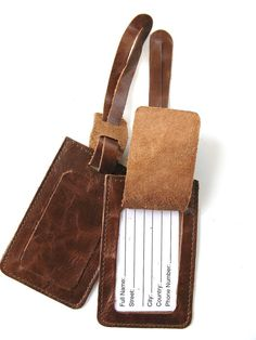 LEATHER LUGGAGE TAG  You Get 2  in Brown by AmielLeatherDesign, $20.00