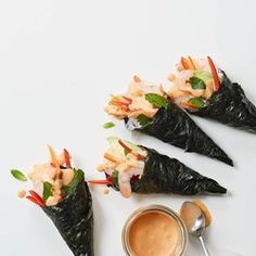 Shrimp Hand Rolls with Coconut-Curry Dipping Sauce - EatingWell.com