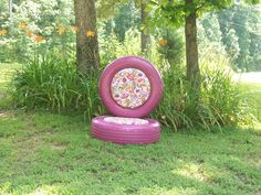 Tire Chair. Upcycle... free tires a couple of bolts; some scrap plywood, foam, fabric and plastic paint. Lowes had so many colors for plastics paint!