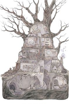 Good example of a Gnome or Changeling Treehouse.  Gnomes often build closer to the ground and underground.  Changelings will build taller trees and make it hard for anyone other than a shapeshifting Changeling to reach their abodes.