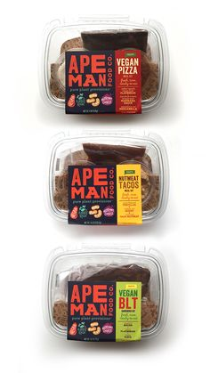 Ape Man Foods makes delicious meal kits, spreads and breads from 100 plant-based ingredients that are raw, paleo-friendly, vegan, nutritious and tasty. Food Branding, Food Packaging Design, Packaging Design Inspiration, Brand Packaging, Identity Branding, Branding Design, Coffee Packaging, Bottle Packaging, Packaging Ideas