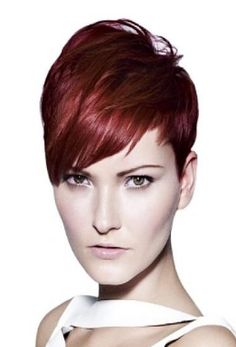 Women super short haircut with very long swept bang in the front with layers_women 2011 haircut, red hair.PNG