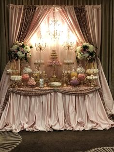 Beautiful pink and gold quinceaera dessert table styled by bizziebeecreations gold cake stands available at amalfidecor com desserts macaron tower chocolate covered strawberries and pretzels cupcakes and cake pops desserttable eventplanner quinceanera Quinceanera Decorations, Quinceanera Party, Bridal Shower Decorations, Birthday Decorations, Wedding Decorations, Bridal Shower Backdrop, Wedding Themes, Wedding Ideas, Gold Cake Stand