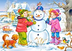 Solve Winter jigsaw puzzle online with 204 pieces Drawing For Kids, Art For Kids, Four Seasons Art, Preschool Decor, Little Einsteins, Winter Activities For Kids, Poster Drawing, Baby Clip Art, Build A Snowman