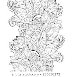 Illustration about Vector Seamless Monochrome Floral Pattern. Illustration of greeting, grasses, background - 55183656 Fall Coloring Pages, Free Adult Coloring Pages, Pattern Coloring Pages, Mandala Coloring Pages, Coloring Books, Doodle Patterns, Zentangle Patterns, Zentangles, Floral Patterns