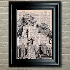 Dictionary Print: Dinosaurs Over New York Statue by PrintsofRogues