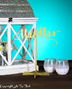 Mr and Mrs Wedding Decor Stand on Table Decor | Gold Silver by LetsTopThat on Etsy