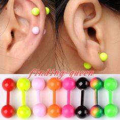 Pair 18G Double Flare Ball Ear Cartilage Tragus Helix Barbell Bar Earrings Gauge #EarringStud
