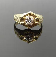 Unique Hexagon Top Art Deco Intricate Yellow Gold Mens Diamond Ring 8C1EK5-P by MSJewelers on Etsy https://www.etsy.com/listing/153128361/unique-hexagon-top-art-deco-intricate