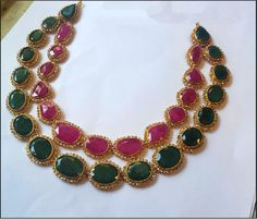22k Gold Necklace Designs, 22K Gold Ruby Emerald Necklace Designs.