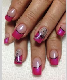 50 Amazing Nail Art Designs For Beginners With Styling Tips Nail Art,Nail designs,Nails,Polished to perfection, Pink Tip Nails, Pink Acrylic Nails, Fancy Nails, Diy Nails, Cute Nails, Pink Nail, Black Nails, Pretty Nails, Simple Nail Art Designs