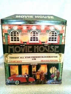 "NEED IT Silver Crane Movie House Theater Popcorn Building Tin Box Container 8""x7""X5"" 