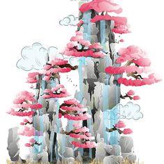 Sacred Mountain #mountain #oriental #Japan #spring #decor #landscape #illustration #home #waterfall #pink #rocks #stones #fantasy #magic