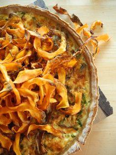 Tarte flamboyante d'automne (champignon, potimarron et farine de châtaigne)