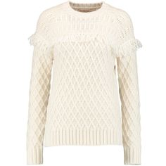 Tory Burch - Fringed Cable-knit Wool Sweater ($173) ❤ liked on Polyvore featuring tops, sweaters, cream, white top, white sweater, cream cable sweater, chunky cable knit sweater and cable sweater
