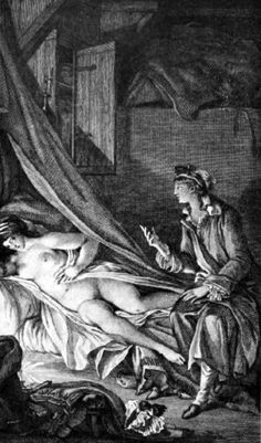Illustration by Fragonard for Letter XLIV, 1796, for Les Liaisons dangereuses/The Dangerous Liaisons, a French epistolary novel by Choderlos de Laclos, first published in four volumes by Durand Neveu from March 23, 1782.  ArtExperienceNYC