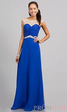 Floor Length Cap Sleeve Dress at PromGirl.com