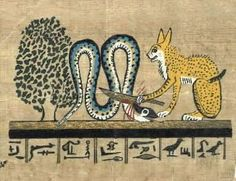 "Ancient Egypt: The ""great cat"" or ""sun cat"" of Ra (the sun god), who dwells in Heliopolis, kills the serpent Apophis (god of evil, darkness and chaos) to free the sacred sycamore tree, which was a symbol of the sun."