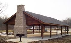 Timber Framed Post & Beam Picnic Shelter  Y'all need to make one of these at the farm! Lol.