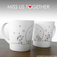 BoldLot Miss Us Together Couple Coffee Mug Set- Keep your loved one on your mind all day long with these coffee mugs, and they'll keep your heart warm with reminders of your infinite love. Perfect Valentine's Day gifts for long distance boyfriend and girlfriend.