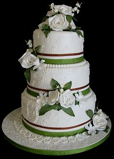 Sugarcraft by Soni: Three Tier Wedding Cake: Roses and Leaves