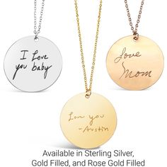 Actual Handwriting Round Necklaces! Available in Sterling Silver, Gold Filled, and Rose Gold Filled