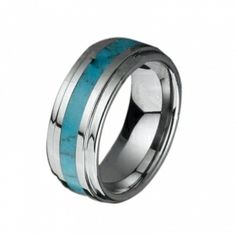 Turquoise Inlaid Tungsten Ring | Luxury Raised Center Tungsten Ring with Turquoise Inlay