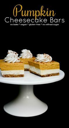 Vegan Pumpkin Cheesecake Bars are an easy, no-bake Fall recipe! The walnut crust pairs perfectly with the classic cheesecake and spiced pumpkin layers. Top the bars with coconut whip for a decedent Fall dessert. gluten-free, no refined sugar and no added oil!