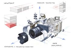 viewpoint. Exploded view of a camera #Product #Design #Sketch @Siddharth Mondal Mondal Grover